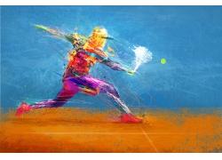 网球运动员彩色图案图片