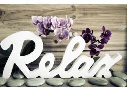 兰花和放松字模摄影图片