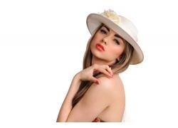 戴帽子的美女