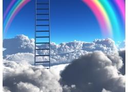 白云上的梯子和彩虹