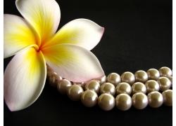 鸡蛋花与珍珠项链