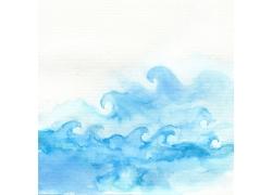 蓝色海浪水彩背景