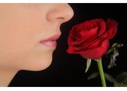 闻玫瑰花的美女