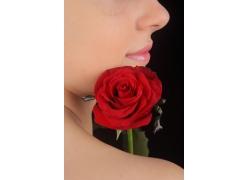 性感美女和红玫瑰花