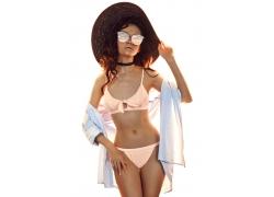 帽子墨镜内衣美女