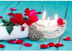 蜡烛与玫瑰花