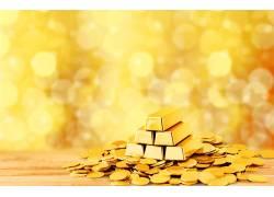 金条和金币诱惑背景
