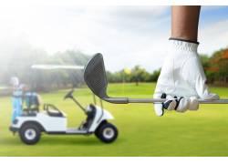 球杆与高尔夫车