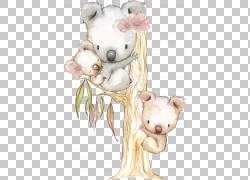 树枝上的卡通熊图片
