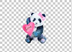 带蝴蝶结的卡通熊猫图片