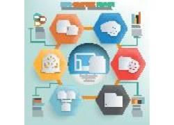 彩色多边形电子商务图表