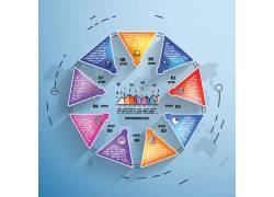彩色立体三角形图表