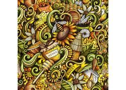 手绘蜜蜂向日葵花中采蜜酿蜜