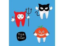 卡通牙齿万圣节海报设计