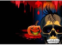 骷髅与南瓜灯万圣节背景