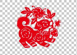 卡通狗窗花设计图片