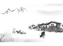 乡村房屋建筑与河流