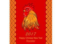 红色公鸡新年海报设计