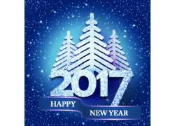 蓝色圣诞树2017新年海报