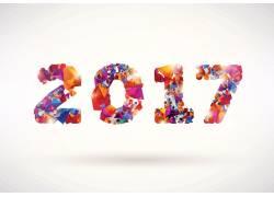彩色2017新年字体设计