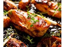 烤鸡翅美食高清图片