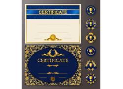 蓝色尊贵徽章明信片