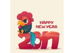 卡通公鸡2017新年海报