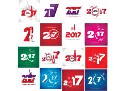 彩色数字2017新年海报