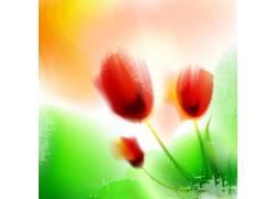 矢量花朵绿叶背景设计