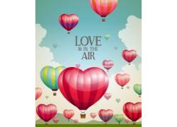 彩色爱心热气球情人节海报图片