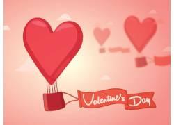 爱心热气球情人节海报图片