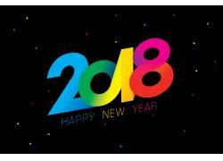 彩色2018新年海报