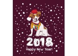 创意卡通狗新年海报素材