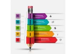 彩色方形标签铅笔图表