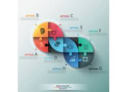 彩色拼图圆形图表