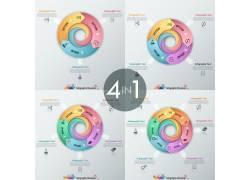 彩色立体箭头圆环图表
