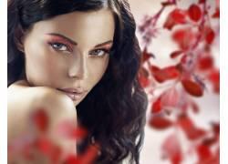 彩妆美女和红叶摄影