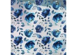蓝色玫瑰树叶水墨背景
