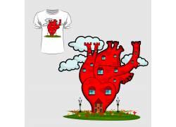 爱心房屋T恤印花设计