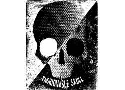 黑白骷髅T-恤图案