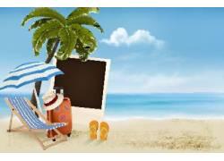 夏日海边度假背景图