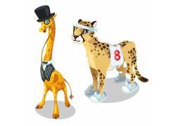 长颈鹿和豹子图片