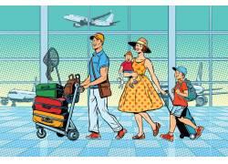 家庭旅行机场人物插画
