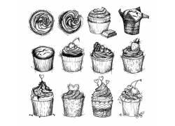 12款蛋糕素描插画