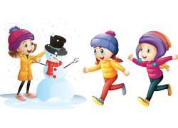 冬季堆雪人的儿童图片