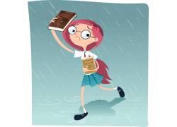 雨中奔跑的女孩图片