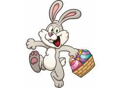 提篮子的灰兔卡通形象图片