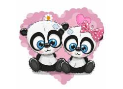 两只可爱的熊猫