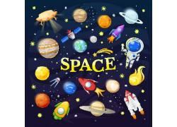 卡通外星太空插画图片