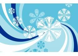 蓝色曲线雪花背景图片